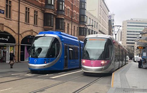 Birmingham Trams about 300m from Rotunda