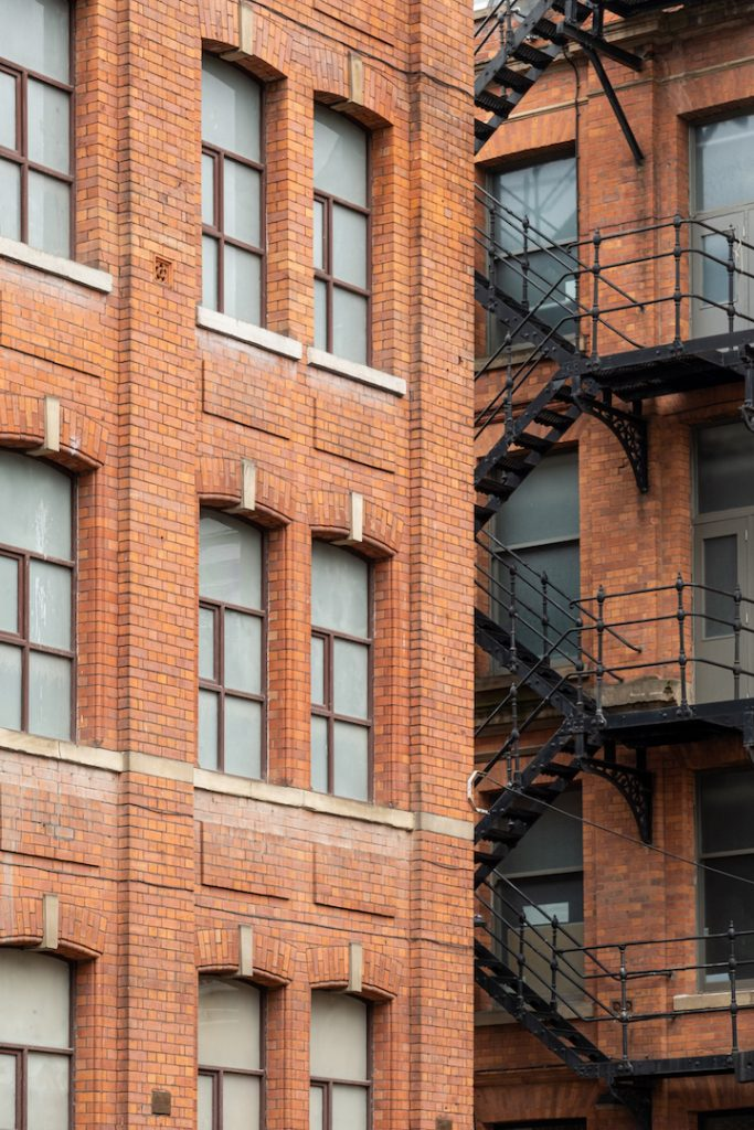 Cotton yard and neighbouring building with fire escape - 72px