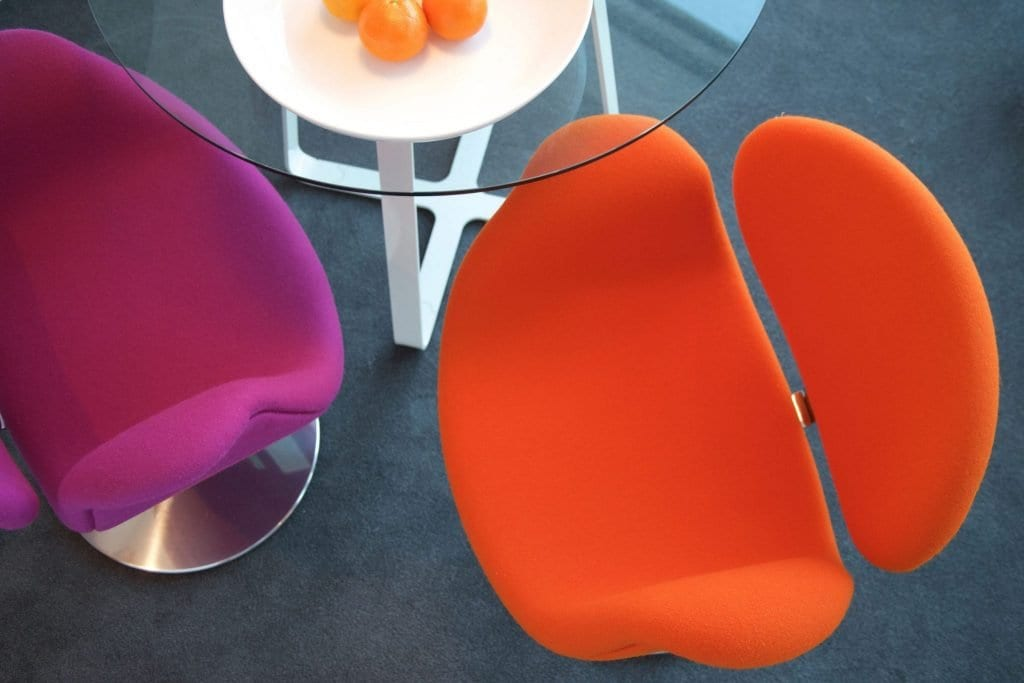 Tulip dining chairs in a Mini studio serviced apartment at Staying Cool's Rotunda apart hotel.