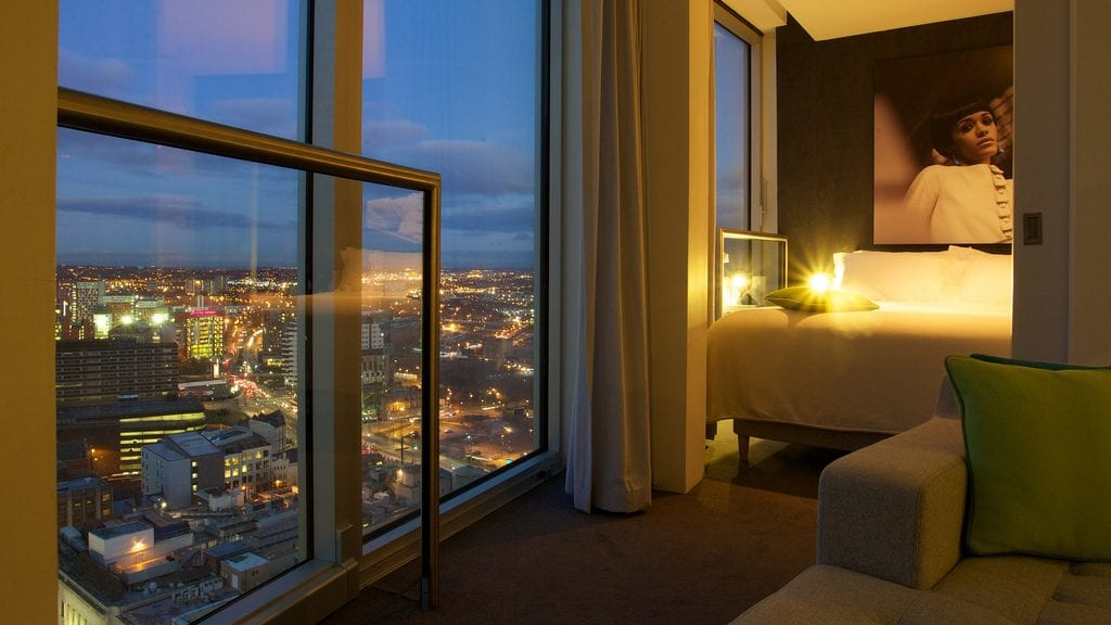 Rotunda serviced apartments view at night from lounge onto cityscape and bedroom. romantic break birmingham blog