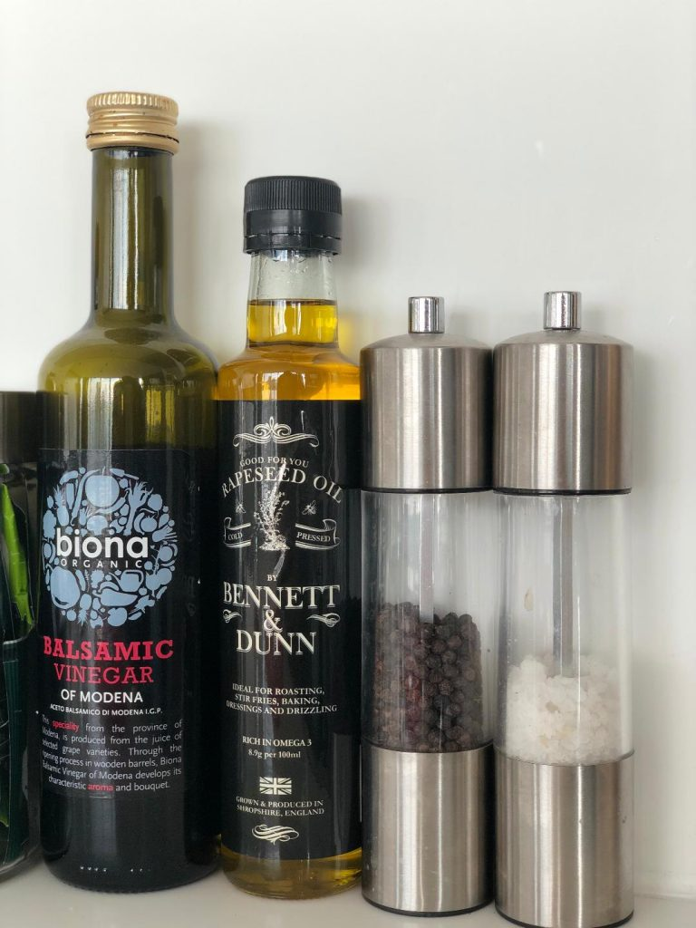 Balsamic Vinegar, Rapeseed Oil, Salt & Pepper Grinders - Kitchen essentials at Staying Cool Birmingham