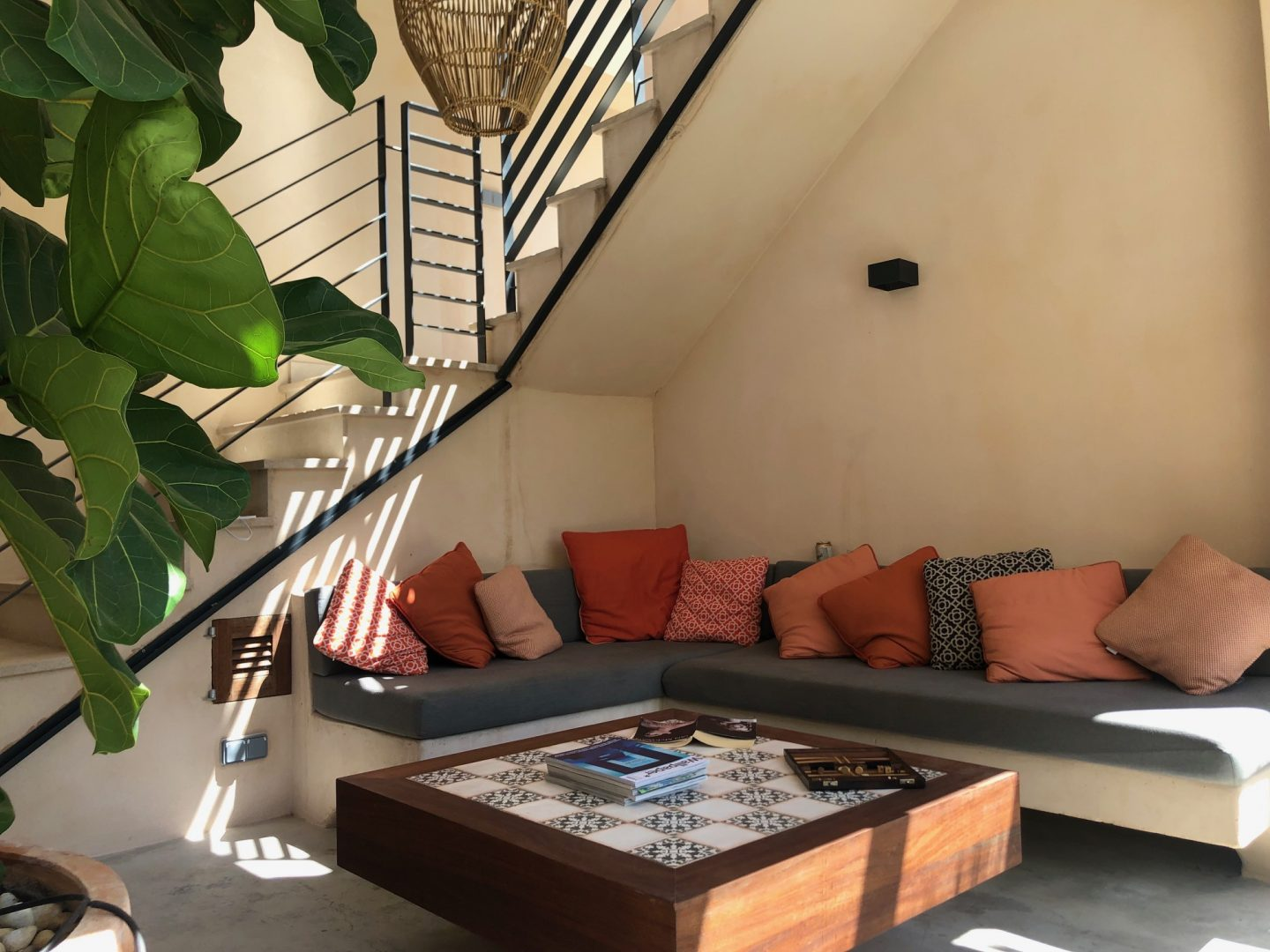 terrace sofa with coffee table at Staying Cool's soller townhouse holiday home