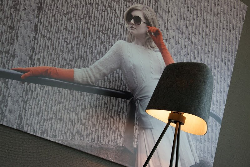 Eco tourism. Grey Tom Dixon lamp in front of 1960s inspired photogrpah of a model
