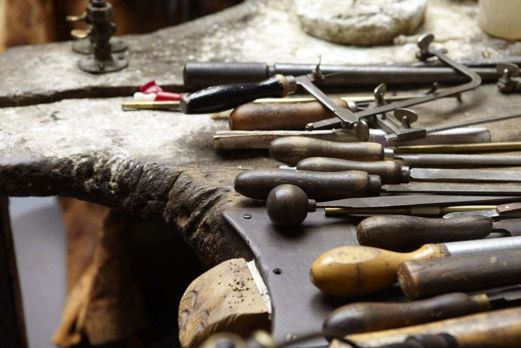 Tools for jewellery making at the Museum of the Jewellery Quarter, Birmingham