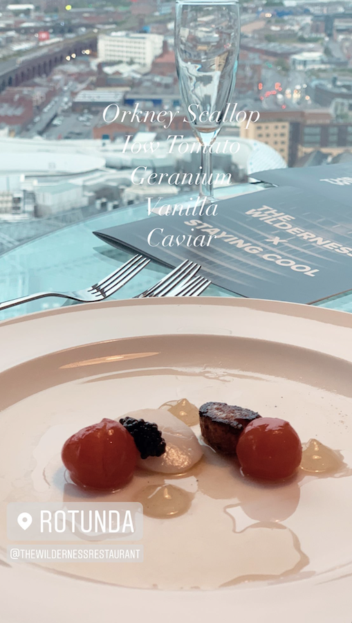 starter course with city views at the wilderness dining event at Rotunda Birmingham