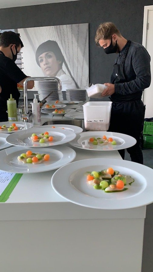 Starter dishes prepared for service in Staying Cools penthouse