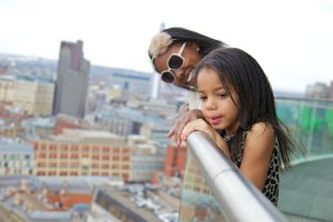 Two children enjoying the view from staying cool's rotunda penthouse - 72px