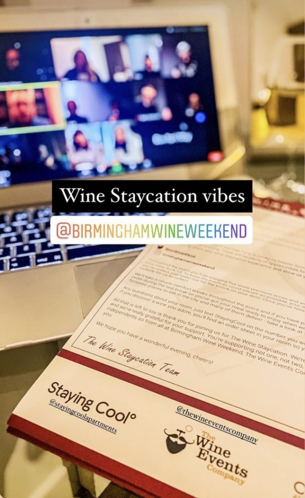 Wine Staycation welcome letter with zoom call in the background at Staying Cool's Rotunda Aparthotel