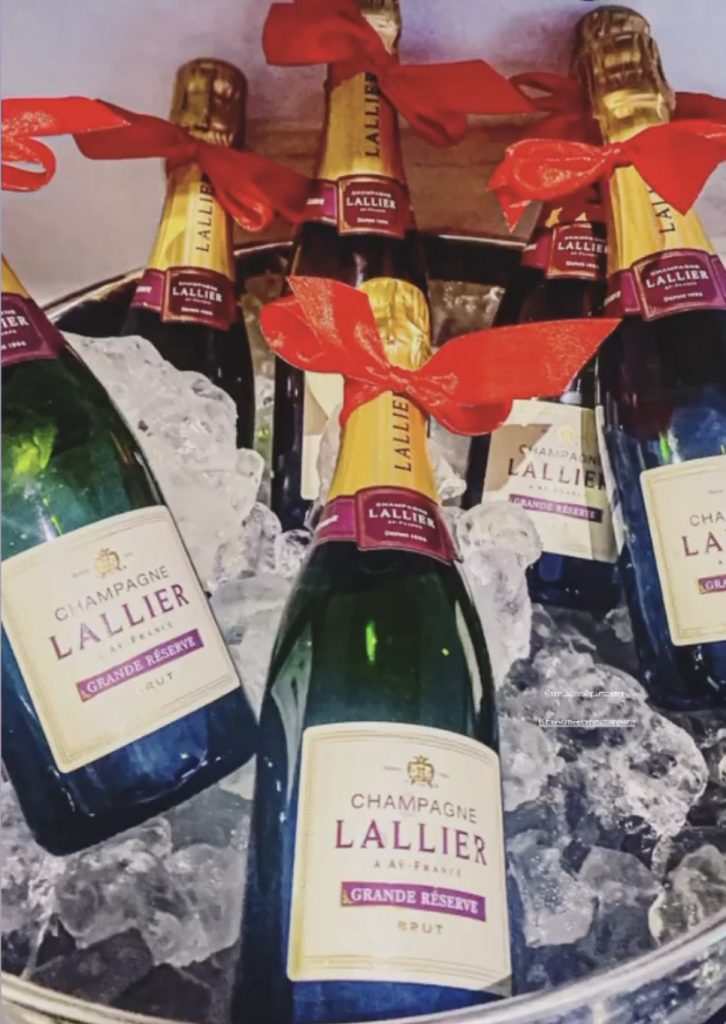 bottles of Lallier Champagne on ice at Staying Cool's Rotunda Aparthotel