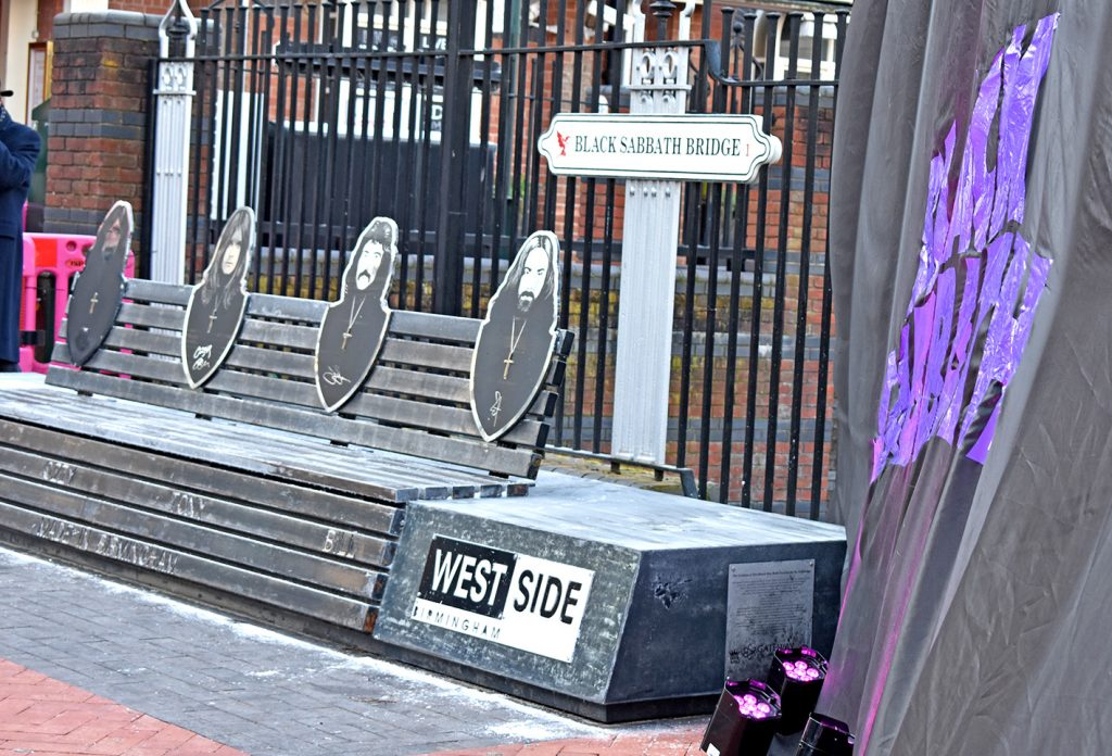 The Black Sabbath bench located on Birmingham's Broad Street