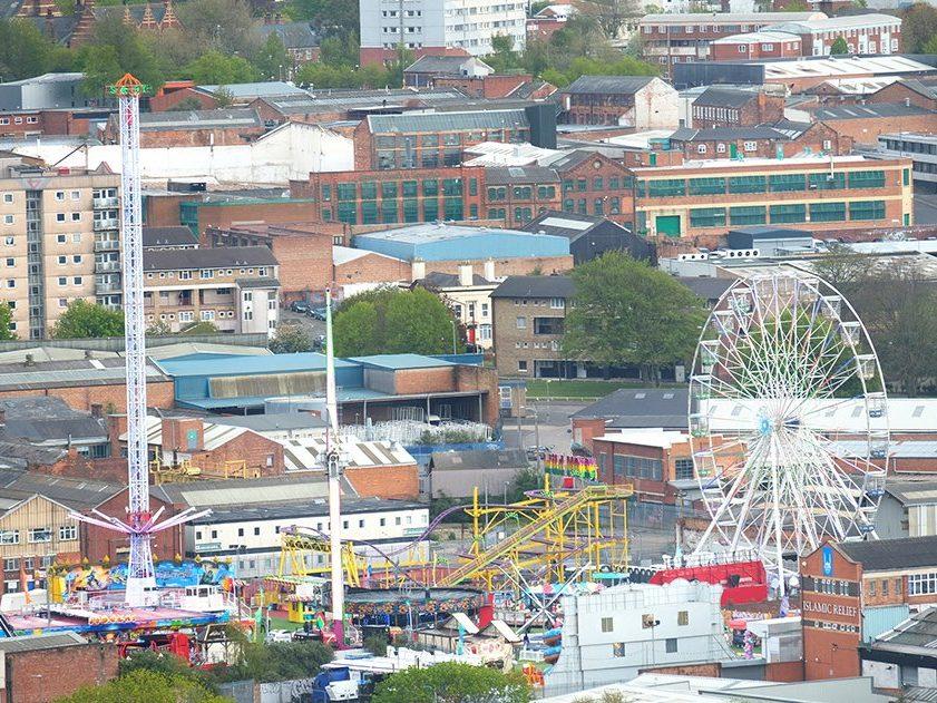 Digbeth Fun Fair as seen from Staying Cool's serviced apartments at Rotunda Birmingham