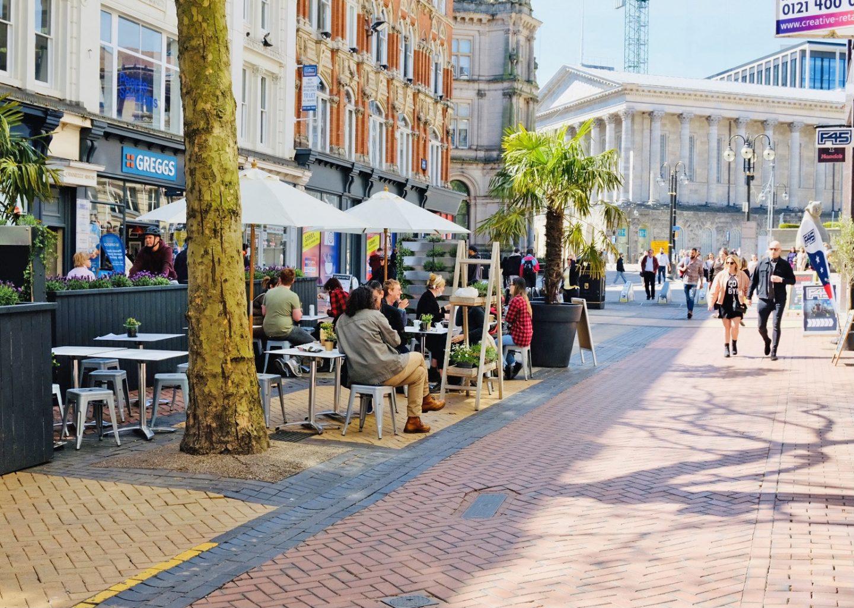 Medicine Bakery's outdoor seating on New Street, Birmingham