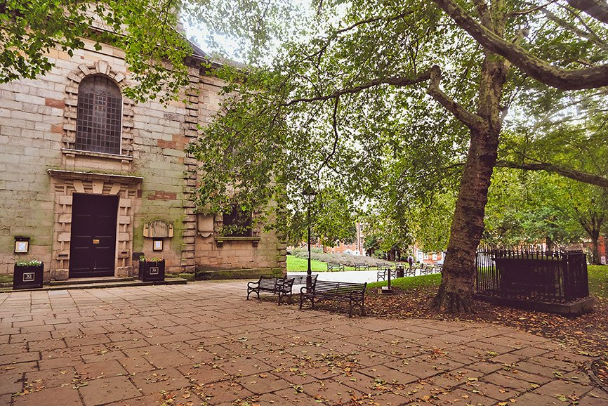 A photo of the church and it's gardens in St Paul's Square at the centre of Birmingham's Jewellery Quarter.