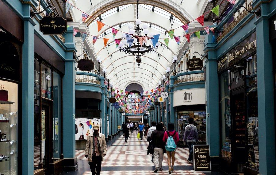 The Great Western Arcade in Birmingham, a restored 19th century shopping arcade.