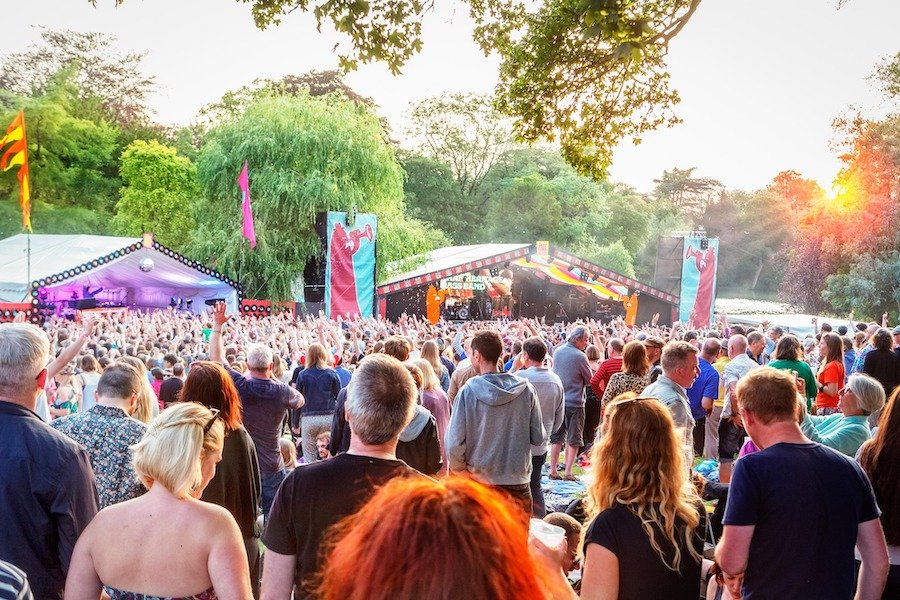 The crowds and stage at a the Mostly Jazz, Funk & Soul Festival in Moseley, Birmingham.