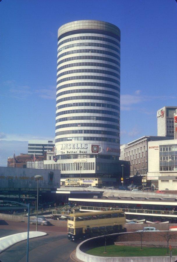 A full colour image of Birmingham's Rotunda building taken in 1968. Photo credit: Birmingham University Archives.
