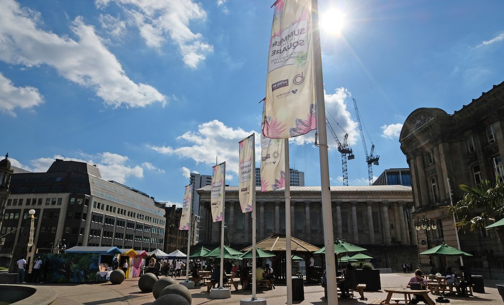 Summer in the Square festival held at Birmingham's Victoria Square just minutes from Staying Cool's rotunda apart hotel. Ideal for an afternoon out with the family