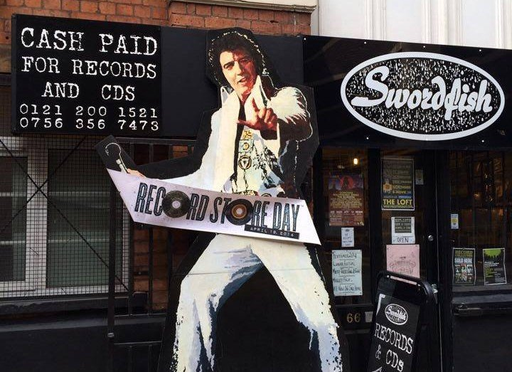 Exterior of Swordfish Records shop in Birmingham city centre, located a short walk from Staying Cool's Rotunda apart hotel.