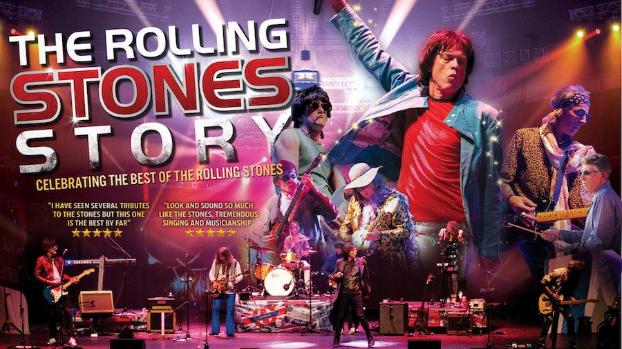 Promotional advert for The Rolling Stones Story production at the Alexandra Theatre in Birmingham