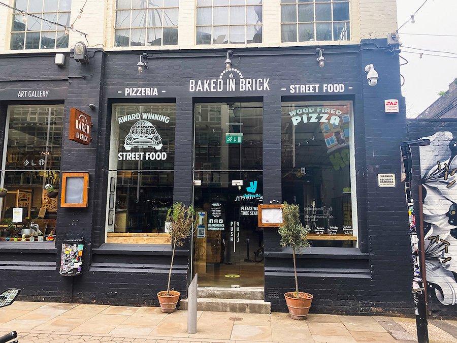 The exterior of Baked in Brick pizzeria restaurant in Digbeth Birmingham.