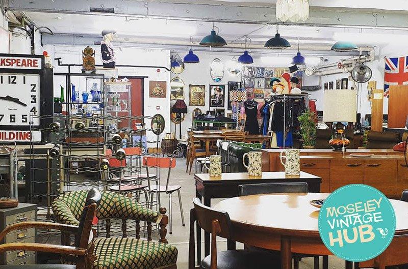 Inside Moseley Vintage Hub in Digbeth Birmingham. A Short walk from Staying Cool's Rotunda apart hotel.