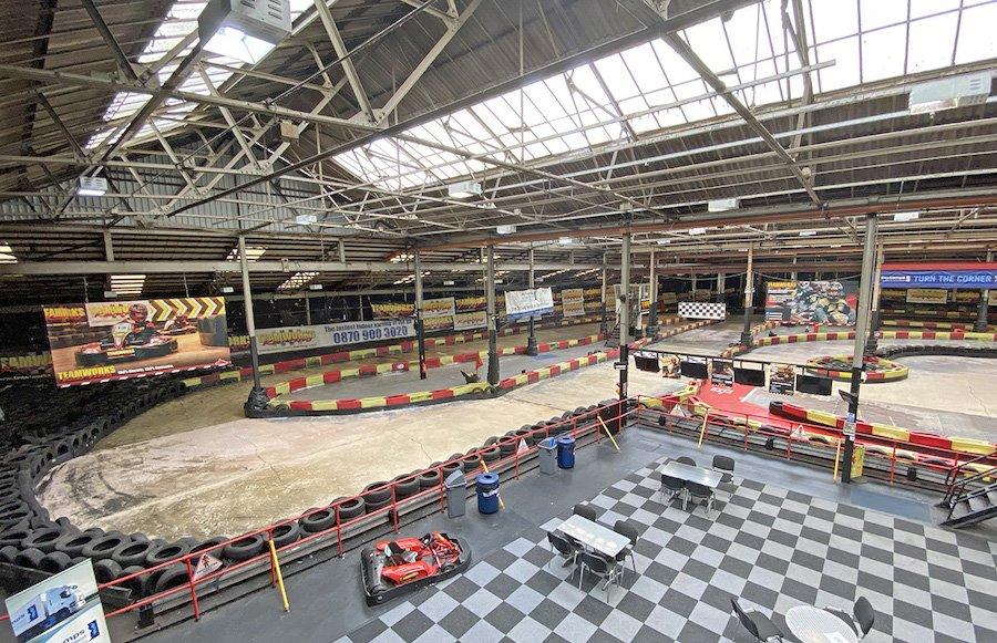 Inside Teamworks Karting in Digbeth Birmingham, just 10 minutes walk from Staying Cool's aparthotel at Rotunda Birmingham